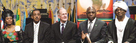 H.E. Mr. Joseph Deiss (center), President of the 65th session of the UN General Assembly, and other distinguished participants at an Africa Day celebration in New York